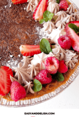 easy chocolate chess pie with berries