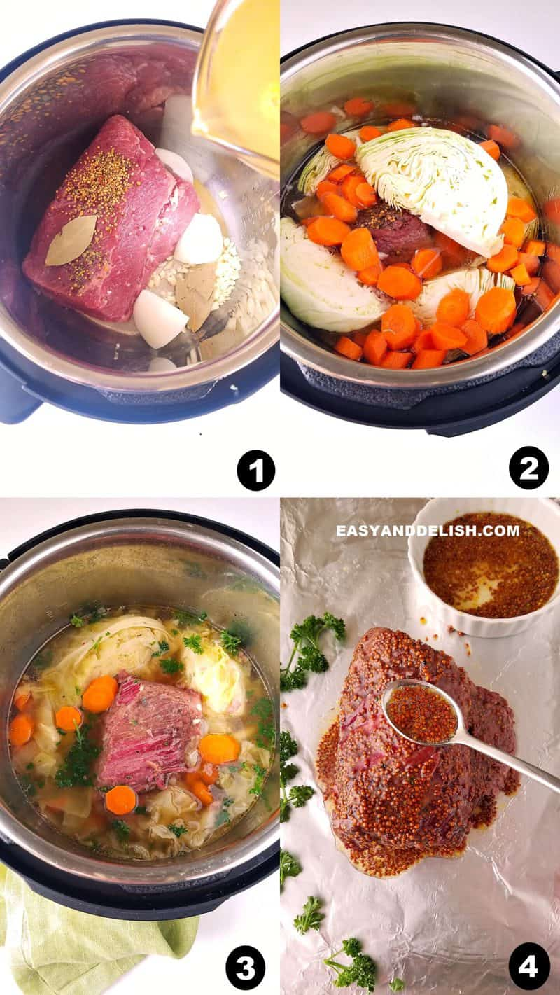 image collage showing how to make Instant Pot corned beef and cabbage in four steps