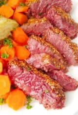 close up of sliced corned beef