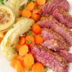 a platter of corned beef and cabbage