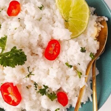 arroz jasmim cozido e servido em uma tigela