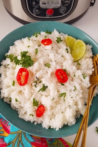 instant pot jasmine rice in a bowl