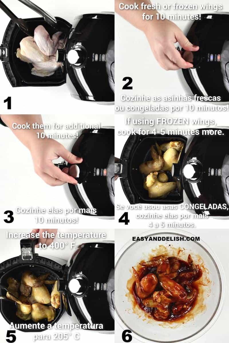 foto colagem mostrando como fazer asas de frango na air fryer e servir com molho barbecue caseiro