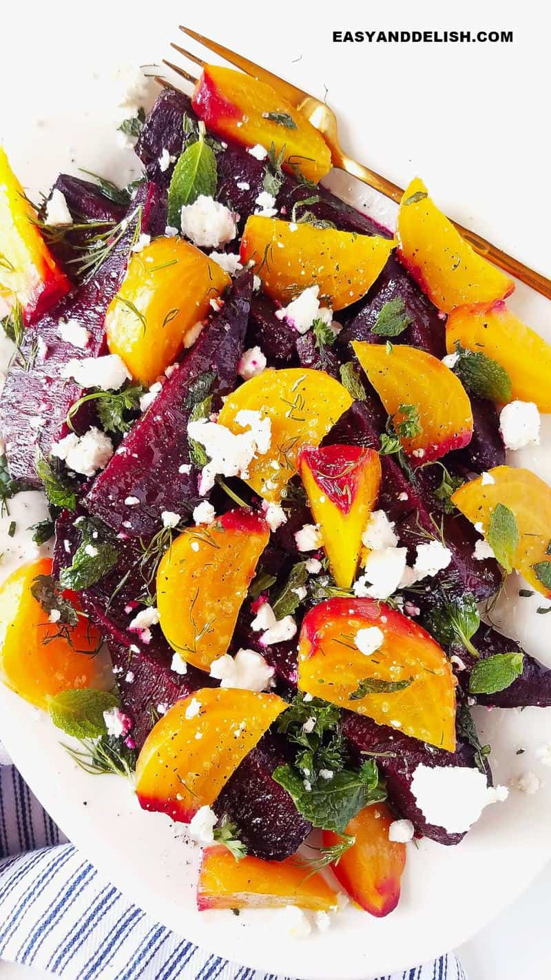 a platter of beet and goat cheese salad