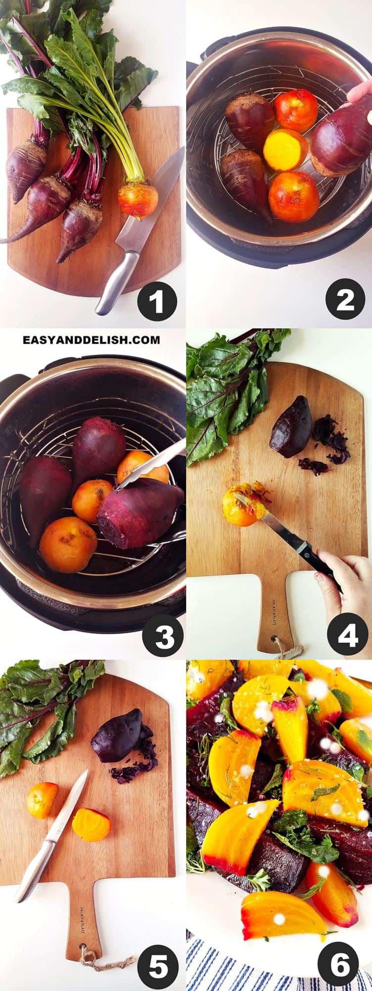 foto colagem mostrando como fazer salada de beterraba em 6 passos
