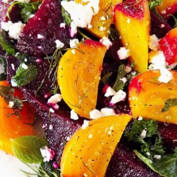 close up de salada de beterraba