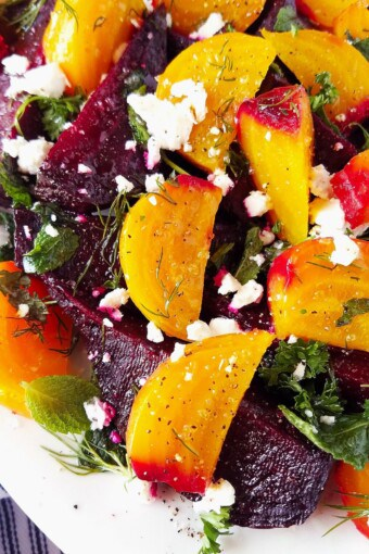 close up of beet goat cheese salad