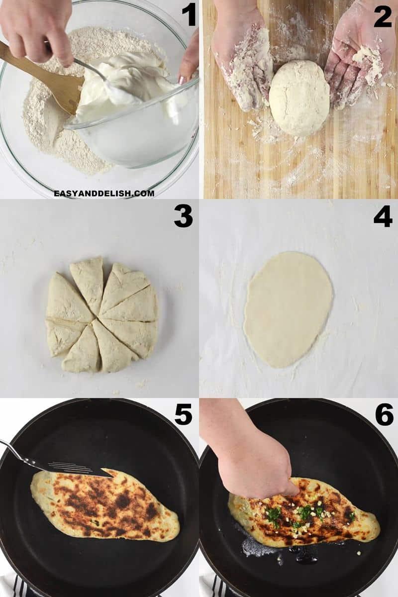 foto colagem mostrando como fazer pão de frigideira em 6 passos