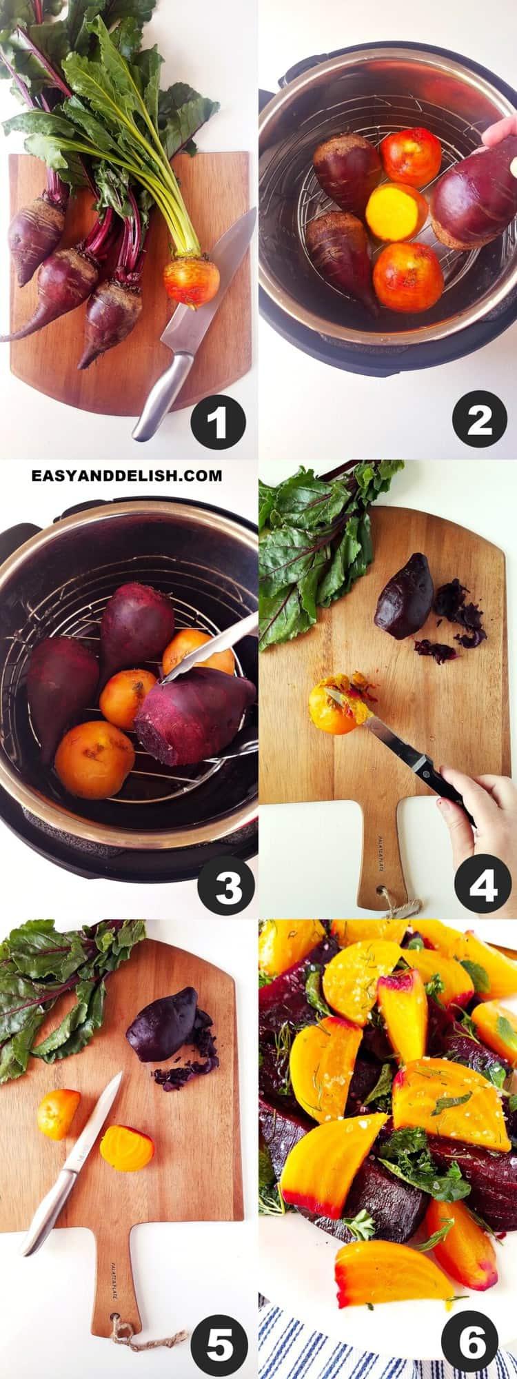 foto colagem mostrando como cozinhar beterraba na panela de pressão