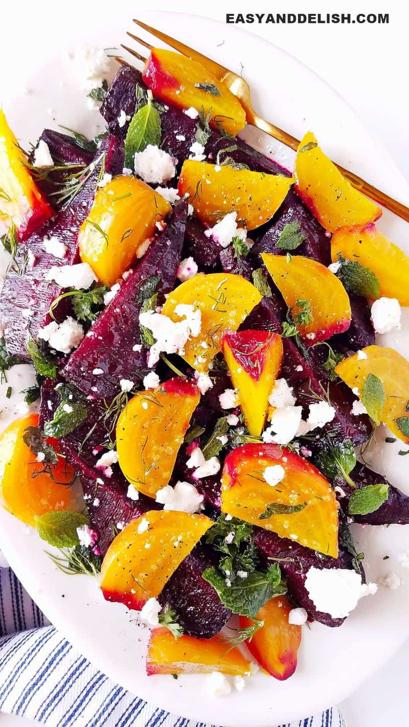 a platter of beet salad