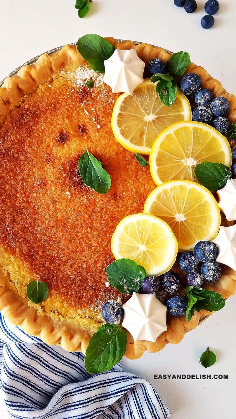 close up of lemon chess pie