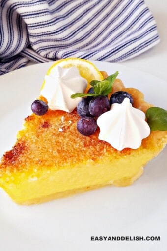 a slice of lemon chess pie