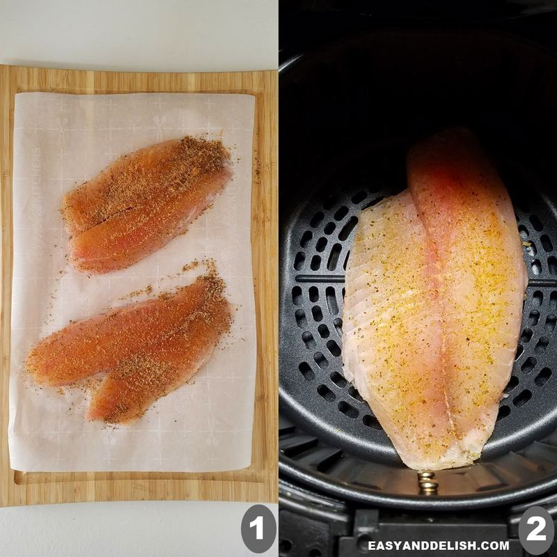 foto colagem mostrando como fazer tilapia na air fryer