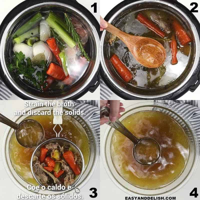 image collage showing how to make chicken bone broth in the Instant Pot