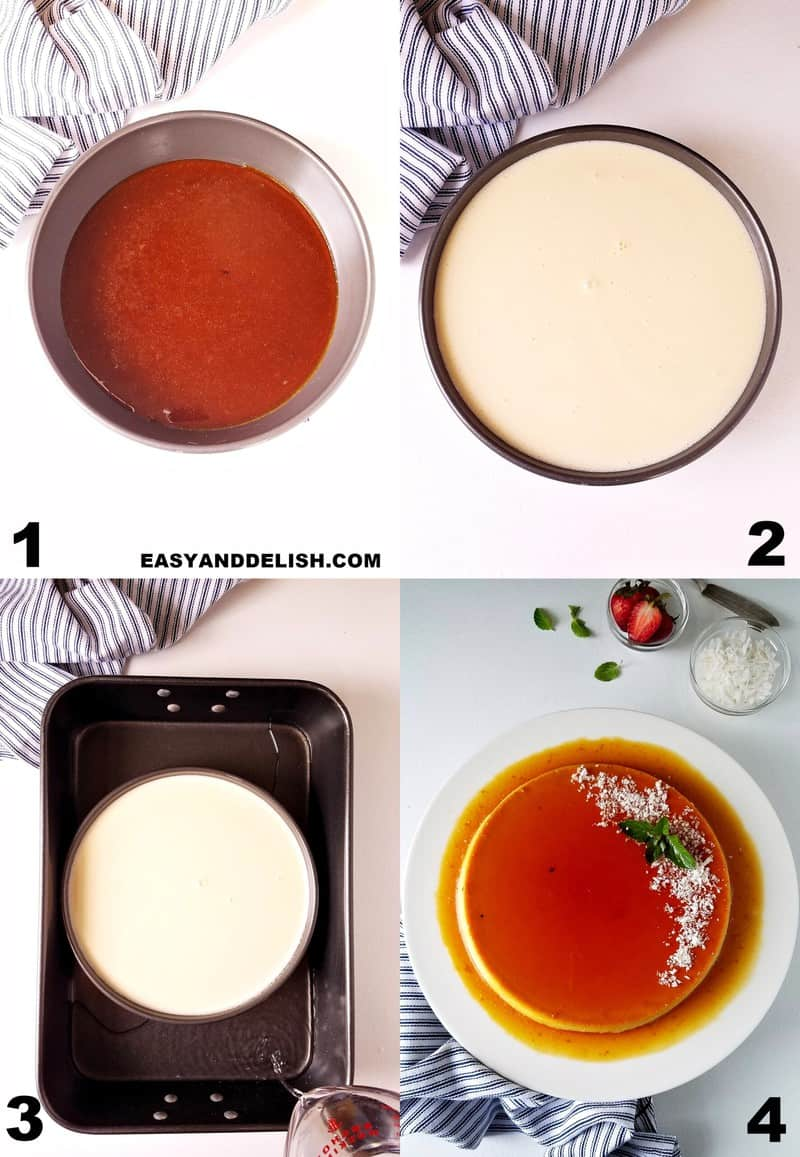 image collage showing how to make coconut flan in 4 steps