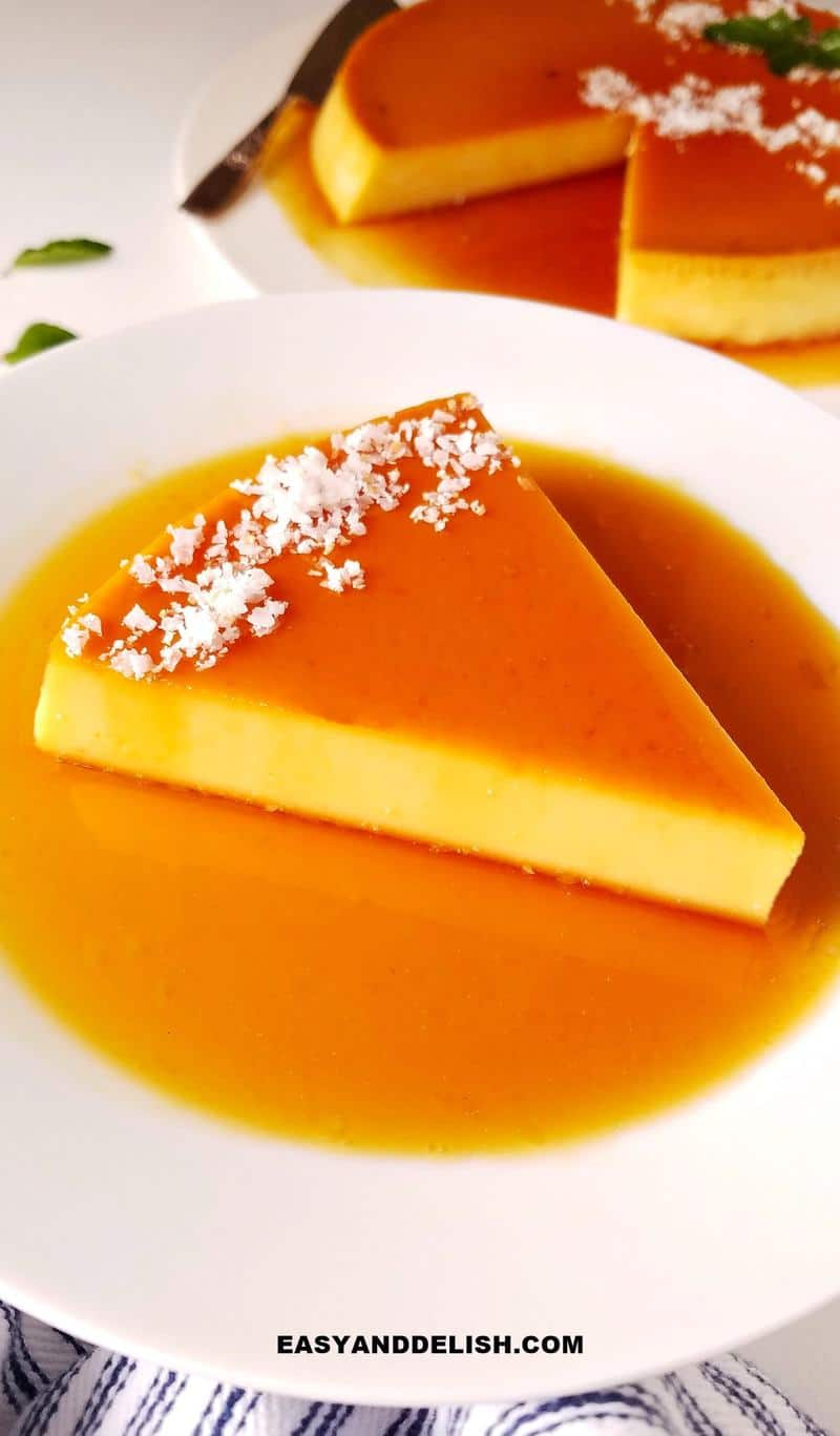 a slice of baked custard in a plate