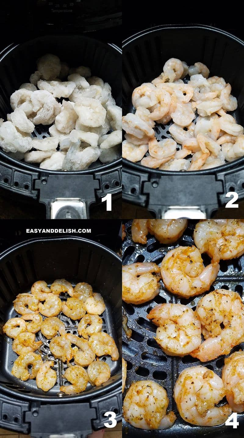 image collage showing how to make frozen shrimp in air fryer in 4 steps