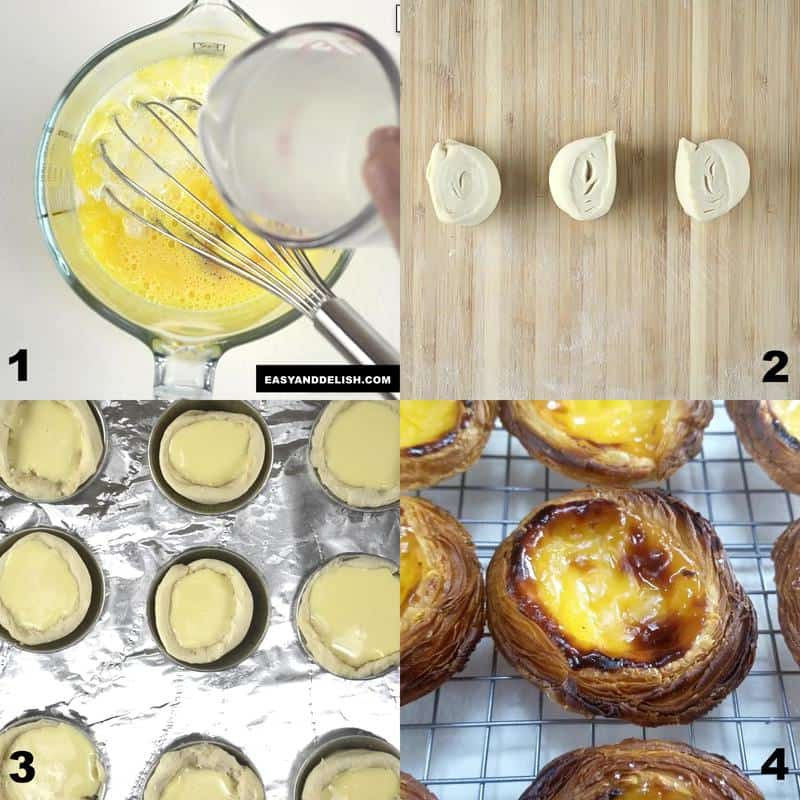 foto colagem mostrando como fazer pastel de belém em 4 passos