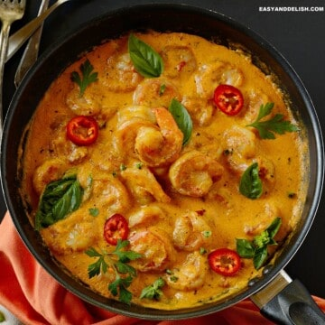 a pot of coconut shrimp stew as one of our easy dinner ideas