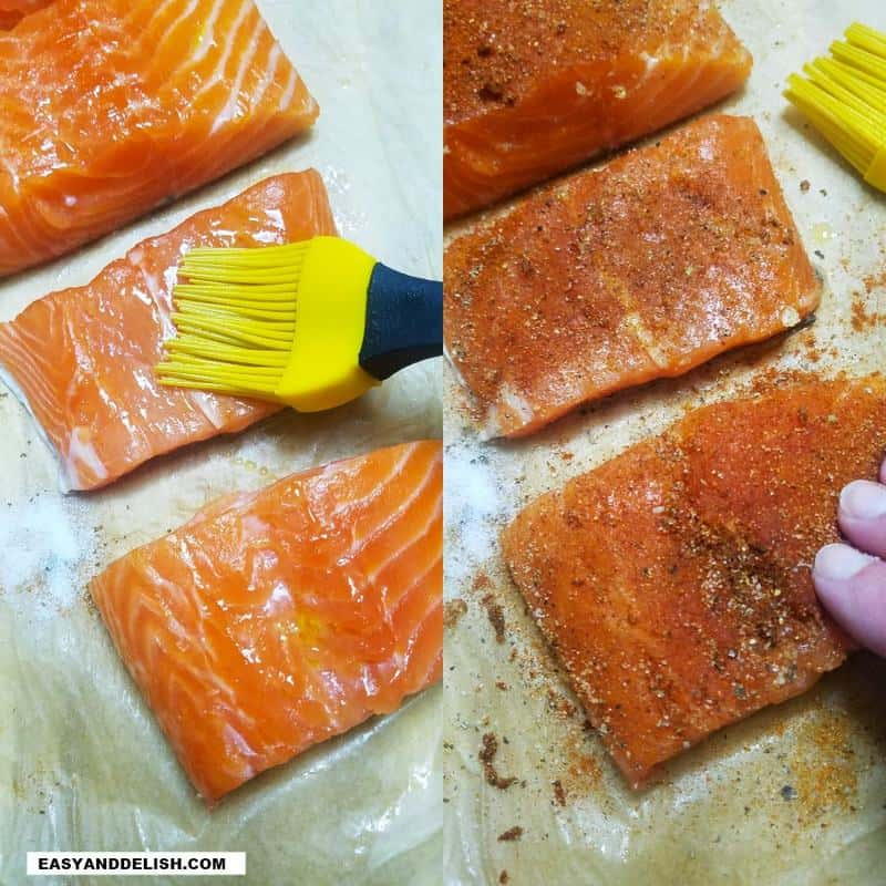 peixe sendo pincelado com óleo e temperado