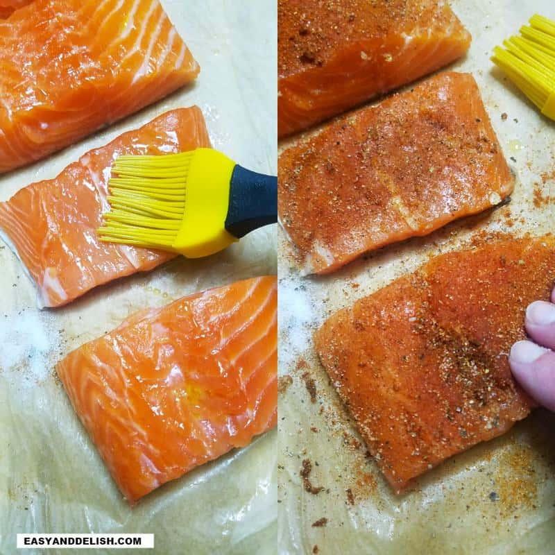brushing oil and seasoning fish