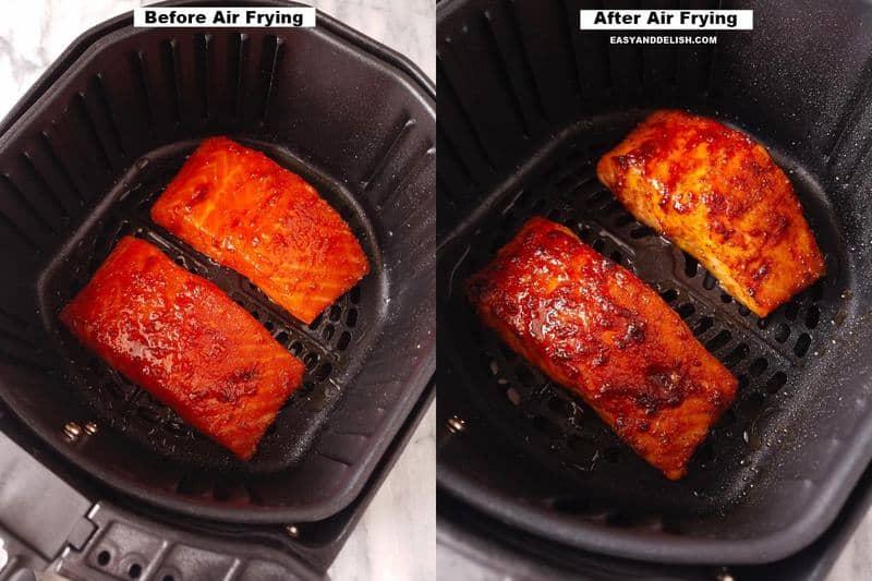 salmão na airfryer antes e depois de ser frito