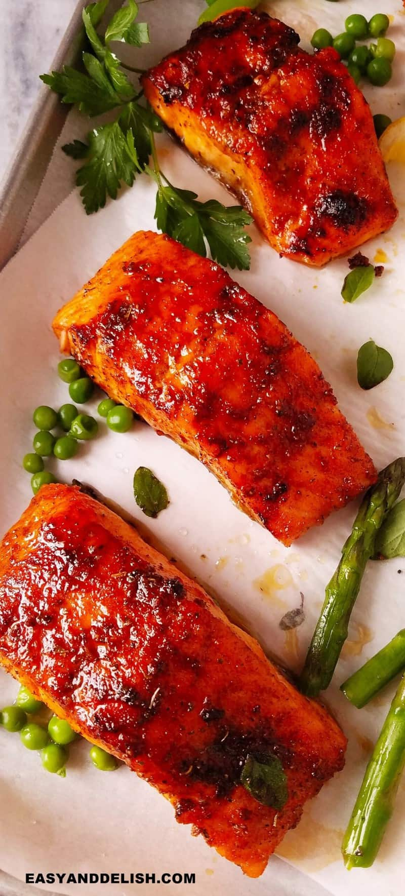 air fried salmon fillets with veggies