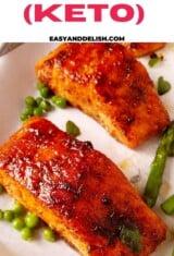 air fryer salmon filets close up