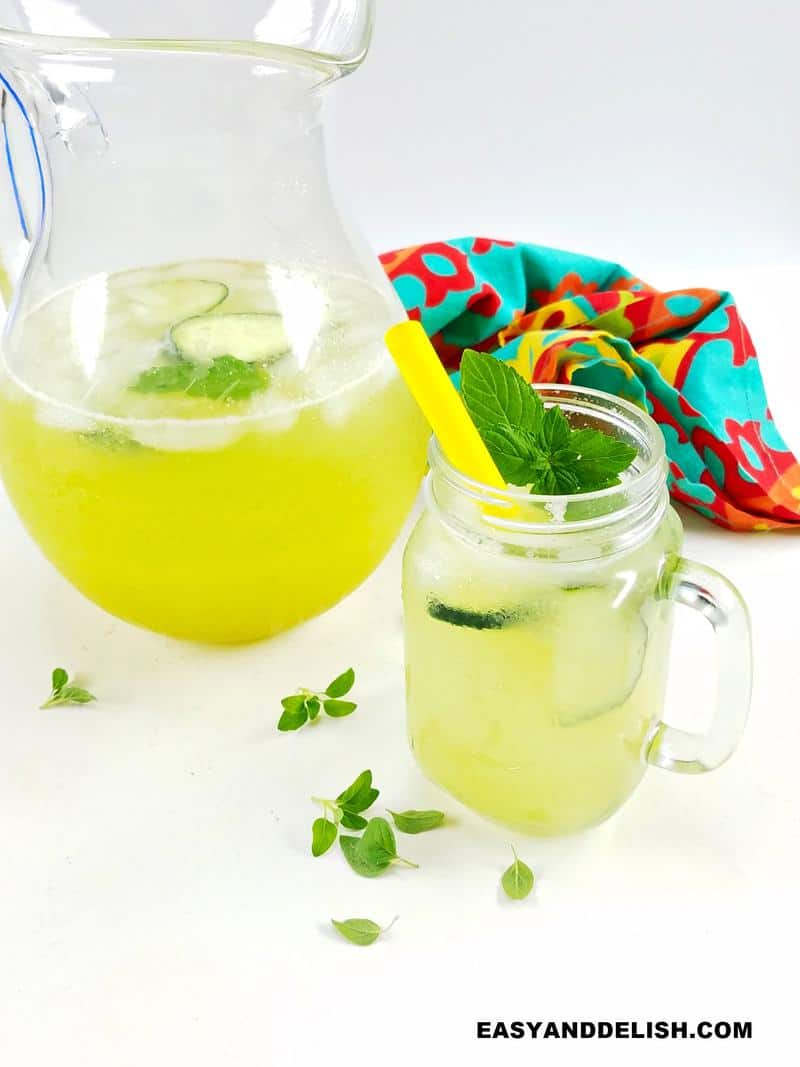 a pitcher and glass of detox water for weight loss