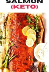baked salmon with remoulade sauce and veggies