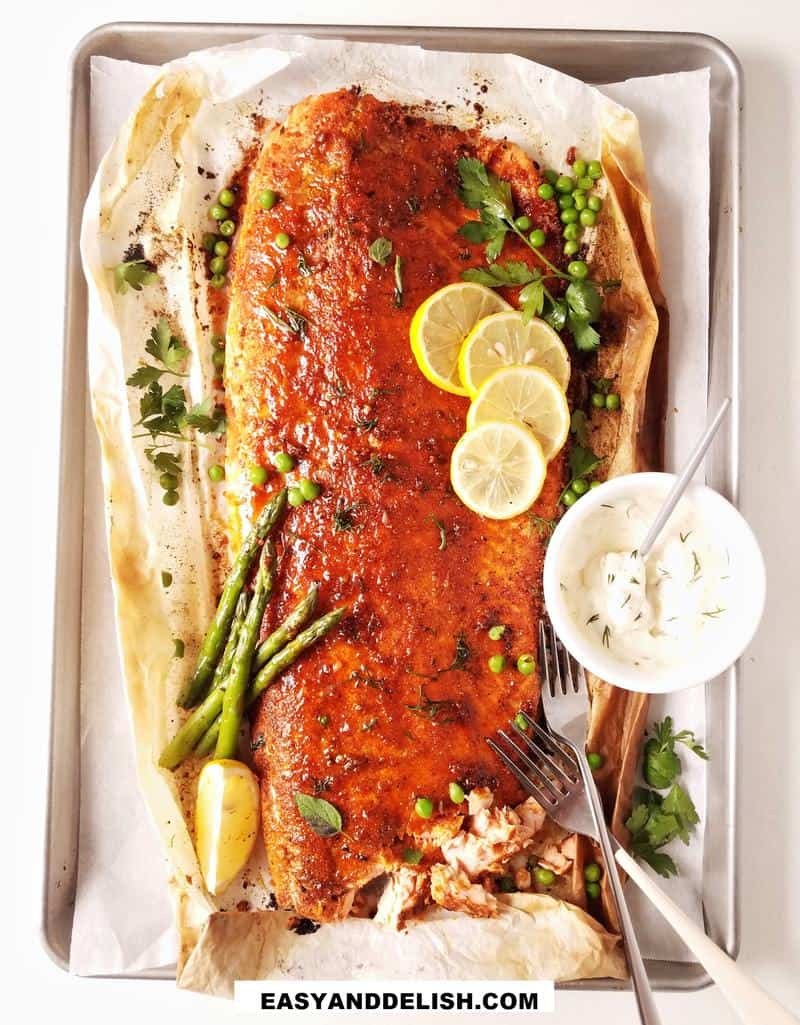 baked blackened salmon partially flakened on the side