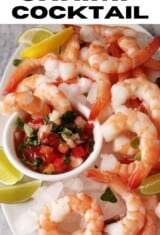 close up of mexican shrimp cocktail in a platter