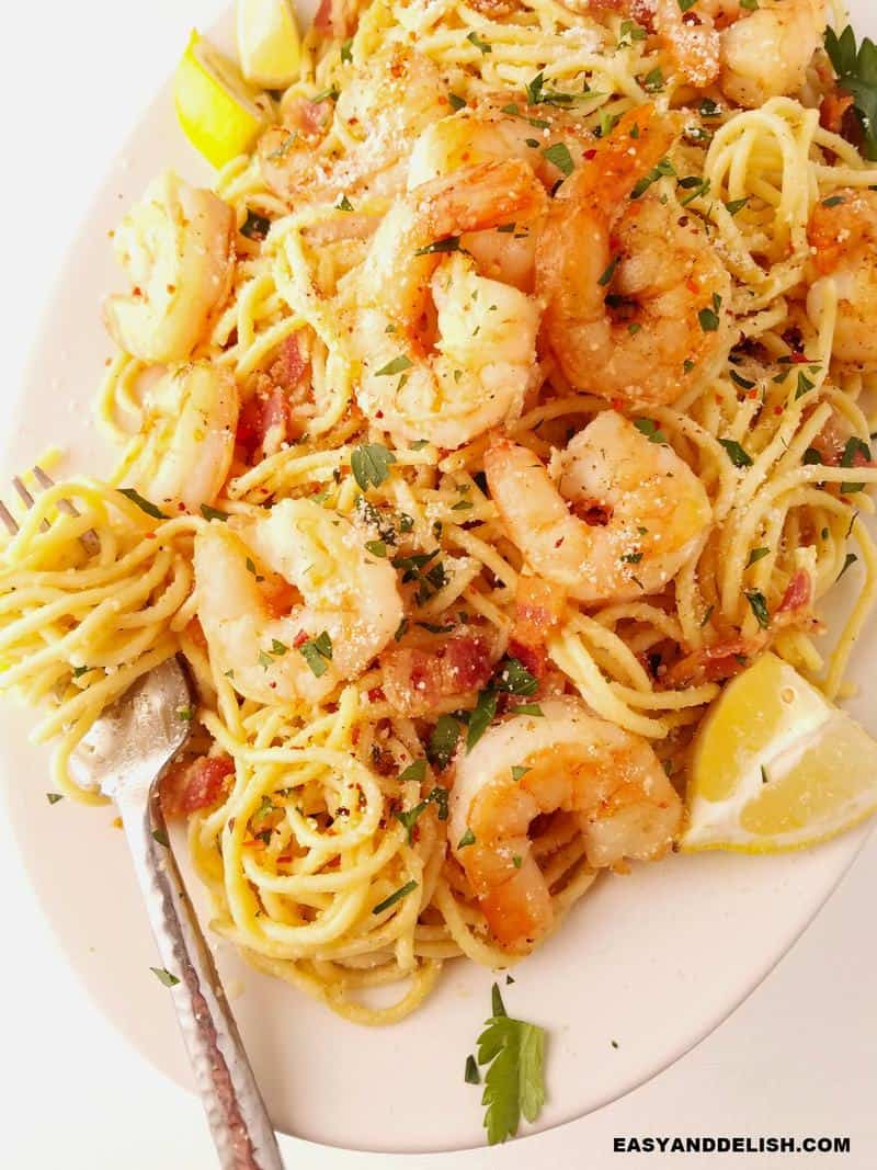a platter with the pasta