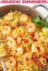 Shrimp Carbonara -- close up in a pan