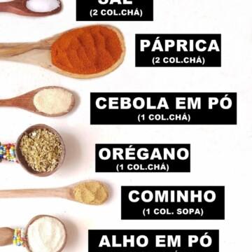 tabela com receita de tempero para tacos