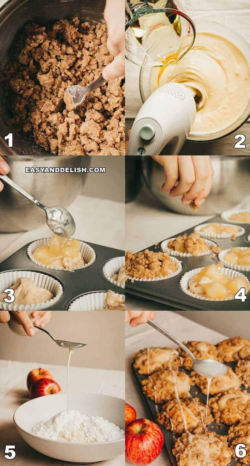 foto colagem mostrando como fazer bolinho de maçã passo-a-passo