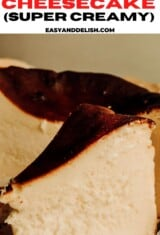 close up of basque cheesecake