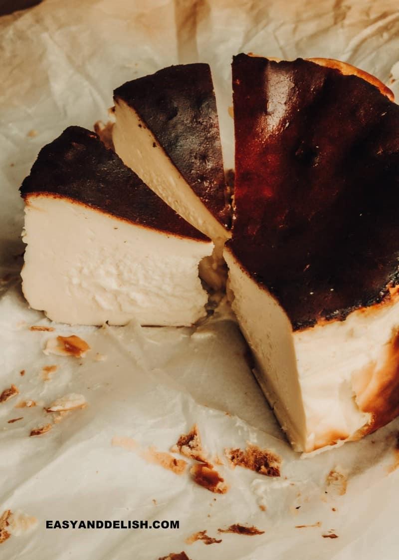 sliced basque cheesecake