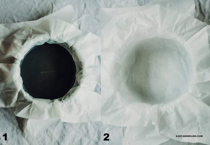 photo collage showing hwo to prepare teh cake pan