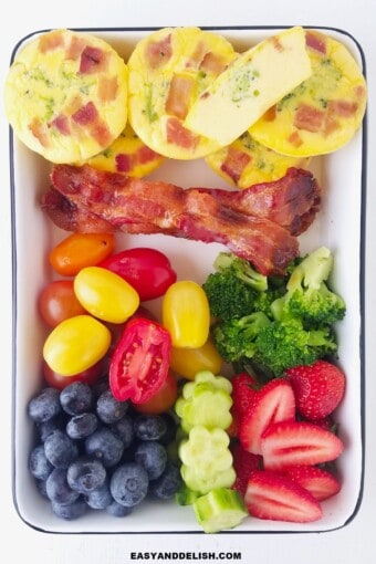 keto egg muffins with bacon, low carb veggies and fruits in a lunch box