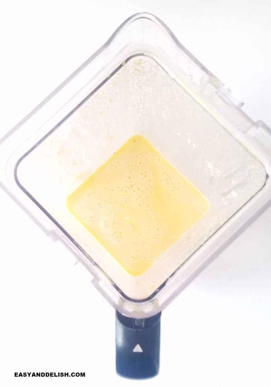 blended ingredients in a blender