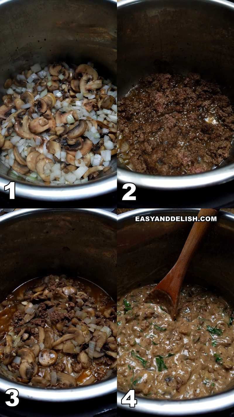 photo collage showing the steps to make ground beef stroganoff in the instant pot