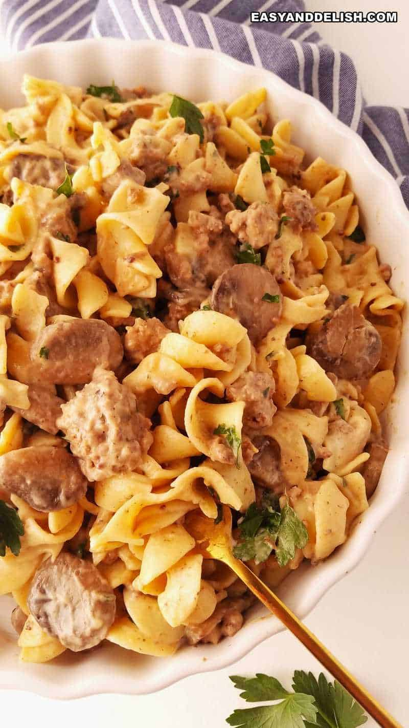 egg noodles mixed with stew in a bowl