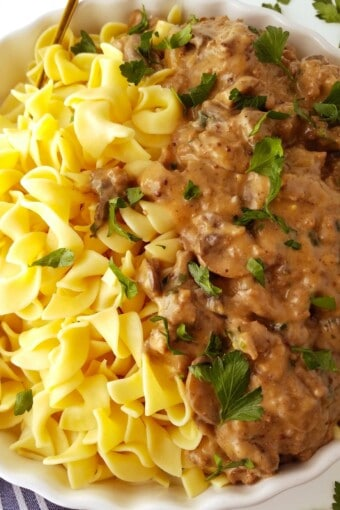 pasta with ground beef stroganoff in a bowl