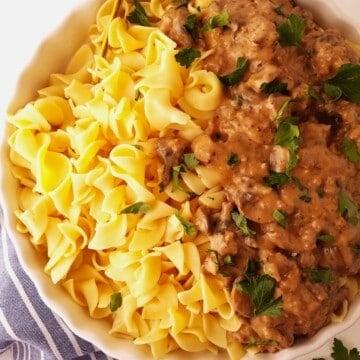 um prato de estrogonofe de carne moida com macarrão
